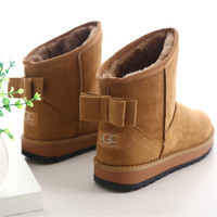 Cheap China Brand Cute Furry women Boots Faux Fur Leather Suede Winter Snow Boots Shoe with Bow style ug Australia for Wome