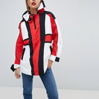 ASOS Oversized Padded Anorak in Color Block with Straps at asos.com