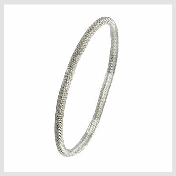 925 Sterling Silver Plated Mesh Chain Stretch Bracelet (Silver 4mm Smooth)