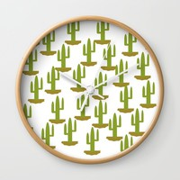 Cactus design, vector Wall Clock by Claude Gariepy