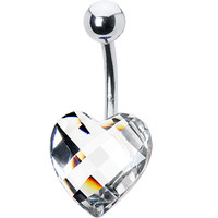 Sparkling Clear Prism Heart Belly Ring | Body Candy Body Jewelry