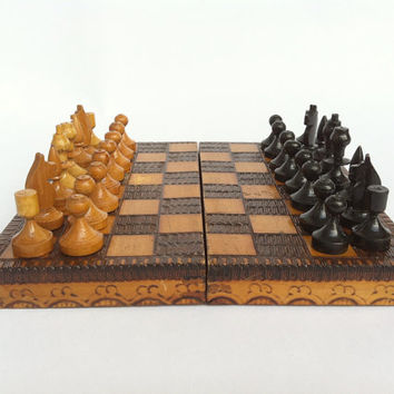 Vintage chess set in wooden box, vintage chess game, soviet chess, antique chess, travel chess set, marble chess set, wooden chess set