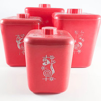 Vintage Red Kitchen Canisters Set Of Four Flour Sugar Coffee Tea Nesting Container 1950s Mid Century Modern Retro Kitchen Kitsch Kitschy