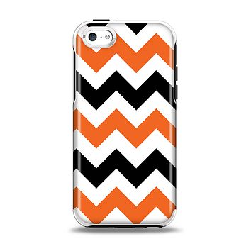 The Orange & Black Chevron Pattern Apple iPhone 5c Otterbox Symmetry Case Skin Set