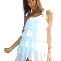 White One Shoulder Layered Ruffle Dress