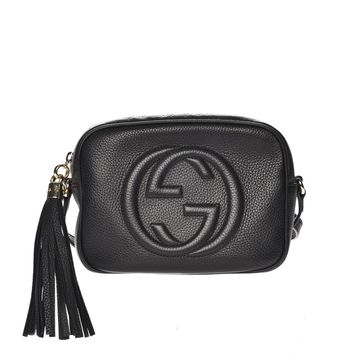 GUCCI Pebbled Calfskin Small Soho Disco Bag Black