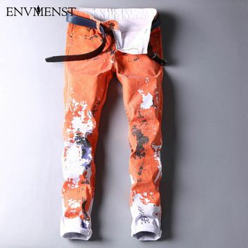 stylish cool men's pants jeans with print graffiti painted denim slim fit white jeans
