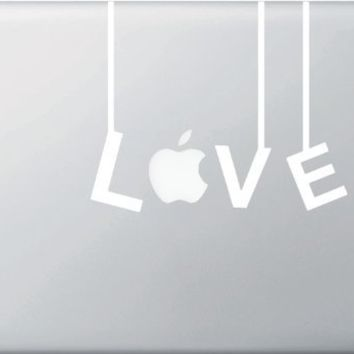 "Love Hanging on Strings - WHITE - (Variable Sizing Available) - Macbook or Laptop Vinyl Decal (13"")"