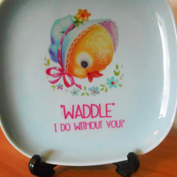 "OOAK Floral 'WADDLE I Do Without You?"" Kitsch Upcycled Decorative Plate- Pastel Pale Blue Duck Egg- Chick China Retro Side Plate"