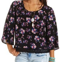 Crochet-Trimmed Bell Sleeve Floral Print Swing Top - Black Combo