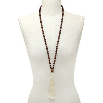 Gold, Brown & Ivory Thread Tassel Drop Wood Bead Long Necklace