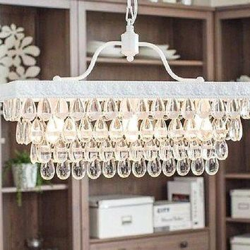 Antique White 3-light Rectangular Crystal Droplets Kitchen Dining Chandelier