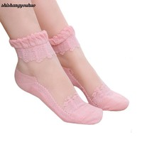 Women Lace Ruffle Ankle Sock Soft Comfy Sheer Silk Cotton Elastic Mesh Knit Frill Trim Transparent Ankle Socks best selling