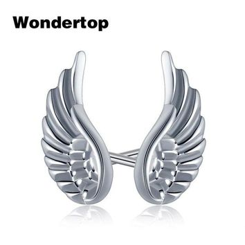 DCCKFV3 Wondertop Genuine 925 Sterling Silver Angel Wing Feather Stud Earrings for Women Party 2017 Trendy Fashion Jewelry