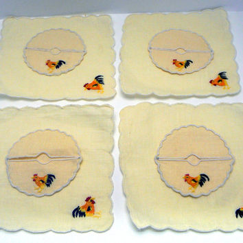 Rooster Irish Pale Yellow Linen 8 Piece Set 4 Embroidered Cocktail Napkin Scalloped Martini Wine Glass Stem Slippers Dining Kitchen Coasters