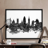 London skyline, London cityscape, London poster, London black & white, London abstract, Art, City Illustration, Wall art, Home Decor, Gift.