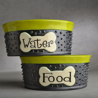 "Small Dog Bowl Set 5"" to 7"" Made To Order Personalized Dangerously Spiky Dog Bowls by Symmetrical Pottery"