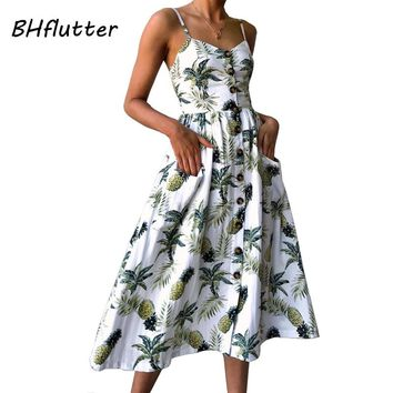 BHflutter Boho Style Beach Dress New Fashion Floral Print Casual Summer Dress Plus Size Buttons Strapless Midi Sexy Dress