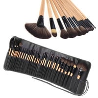 Wood 32Pcs Makeup Brushes Kit Professional Cosmetic Make Up Set + Pouch Bag Case H10073 = 1651456900