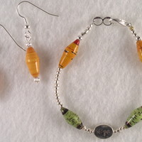 BRBFL01 Bracelet and Earrings are made with Handmade Paper Beads