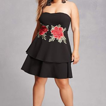 Plus Size Strapless Peplum Dress