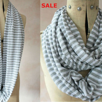 SALE Infinity scarf - Eternity scarf, Circle scarf, Jersey scarf, Tube scarf, Snood, T-Shirt scarf - White and Grey stripe