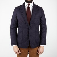 Wool Flannel Quilted Blazer - Blazers - Clothing