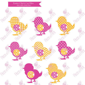 Easter Chick SVG EPS DXF png Monogram Frames cut files Cricut Silhouette Die Cut Machines Vinyl Cutters Vector Graphic Files
