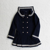 Woolen pleated skirt bow sailor coat free shipping from HIMI'Store