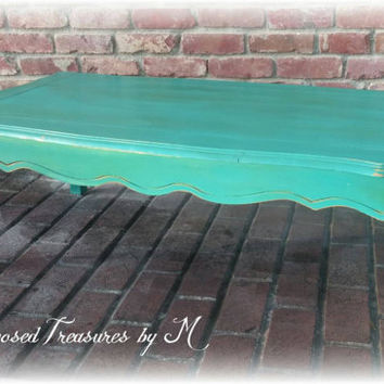 shabby chic coffee table! Queen anne coffee table, distressed coffee table, teal coffee table, shabby chic coffee table, rustic coffee table