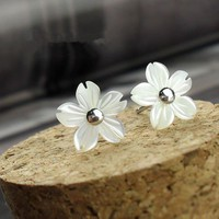 accessoryinlove — Flower Shape Seashell Studs for Women
