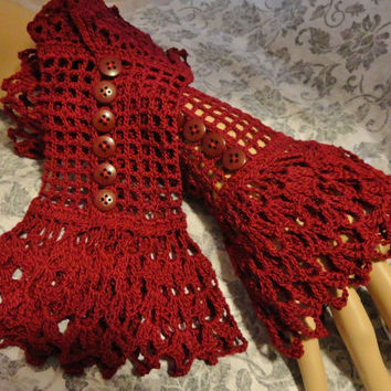Burgundy Red Scarlet  Fine Crochet Gothic Vampire Steampunk Victorian Noir Wedding Mourning Cotton Wrist Cuffs