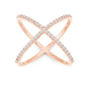 X Ring, Rose Gold with Clear CZ