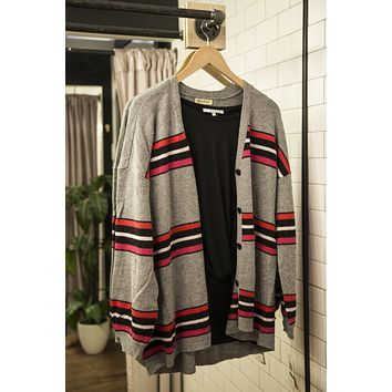Rose Long Sleeve Striped Cardigan, Grey | Democracy
