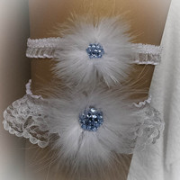 Lace Wedding Garter Set with Swarovski, Marabou, Bridal Garter Set, Cabaret Garter, Stretch Garter, Crystal Garter, Prom Garter