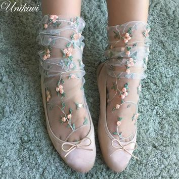 2 Colors.Women's Candy Colors Embroidery Flowers Socks.Lolita Ladies Girl's Transparent Lace Mesh Floral Socks Hosiery Gauze Sox