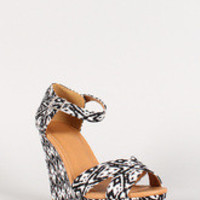 Qupid Lena-512 Tribal Cross Strap Open Toe Wedge