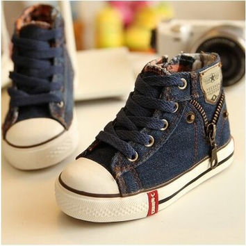 2015 Hot Spring Autumn Boys Shoes Water Wash Denim High Children Shoes Boys Girls Canvas Shoes Kids Sneakers = 1930264260