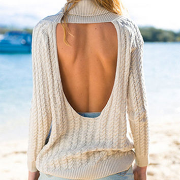 FASHION BACKLESS LAPEL LONG-SLEEVED SWEATER