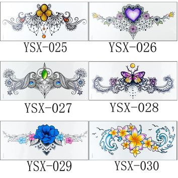 1pc new Under breast Sternum tattoo 24styles flower arm henna Chest paint diamond flowers skull rose necklace girls Flash Tattoo