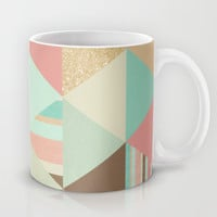 Peach, Mint and Gold Triangles Mug by Noonday Design