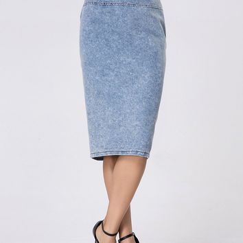 Casual Zips Split Straight High-rise Denim Midi Skirt