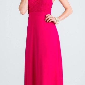 Fuchsia Long Formal Dress with Halter Embellished Neckline