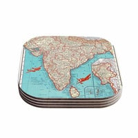 """Catherine Holcombe """"Travel To India"""" Teal Red Coasters (Set of 4)"""