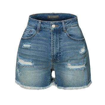 LE3NO Womens High Rise Washed Frayed Hem Denim Short with Stretch (CLEARANCE)