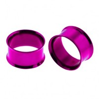 Purple Colorline Anodized Double Flare Flesh Tunnels - Sold as a Pair