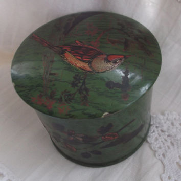 Antique Papier Mache Powder Box Pot Trinket Box Decorative Item