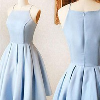 Baby Blue Strapless Cute Homecoming Dress