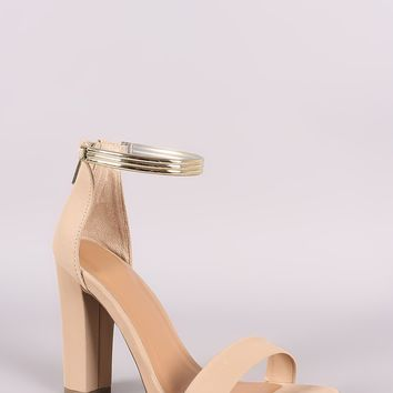 Bamboo Nubuck Ankle Strap Chunky Heel