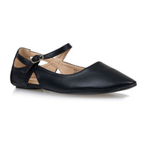 Black Cut Out Ruby Ankle Strap Mary Jane Flats